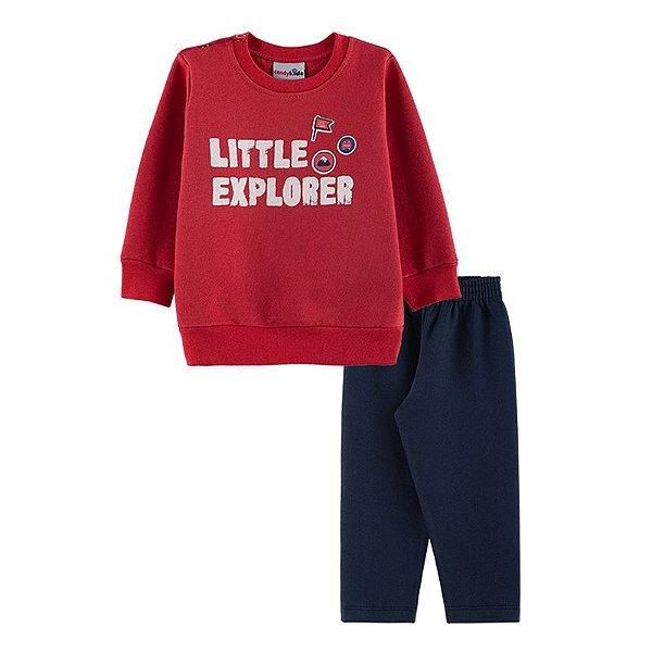 Conjunto Little Explorer Casaco + Calça Bebê Menino Candy Kids Vermelho