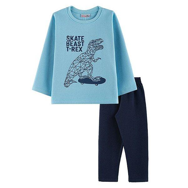 Conjunto Skate T-Rex Casaco + Calça Infantil Menino Candy Kids Celeste