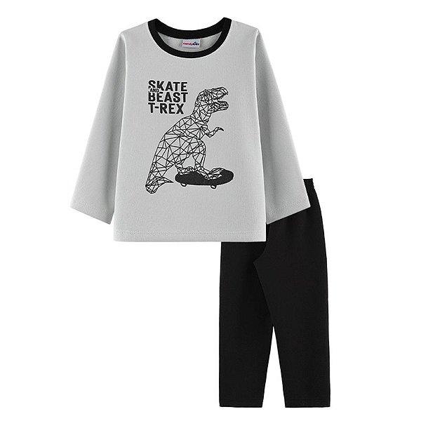 Conjunto Skate T-Rex Casaco + Calça Infantil Menino Candy Kids Mescla