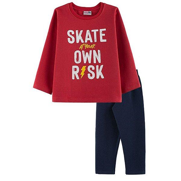 Conjunto Skate Casaco + Calça Infantil Menino Candy Kids Vermelho