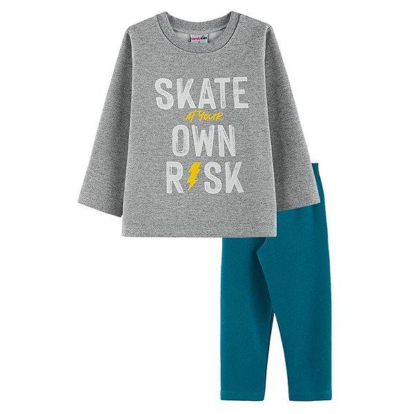 Conjunto Skate Casaco + Calça Infantil Menino Candy Kids Mescla