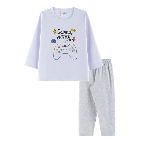 Pijama Game Over Infantil Menino Candy Kids Branco