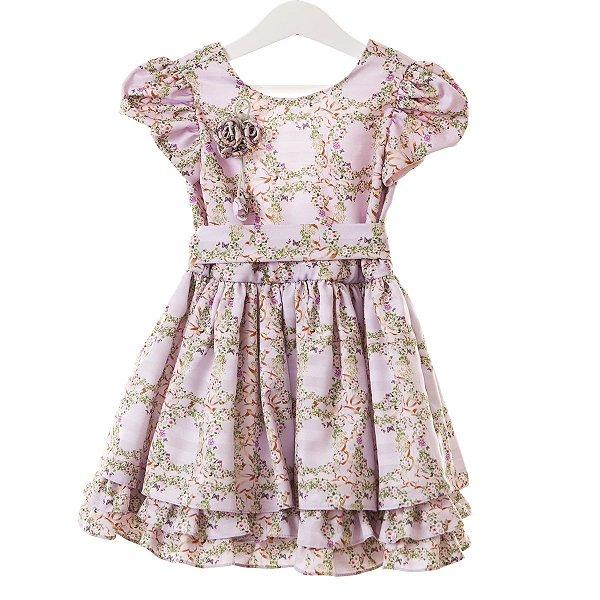 Vestido babado lilás