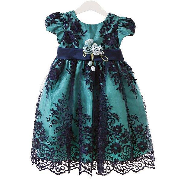 Vestido Renda verde/azul
