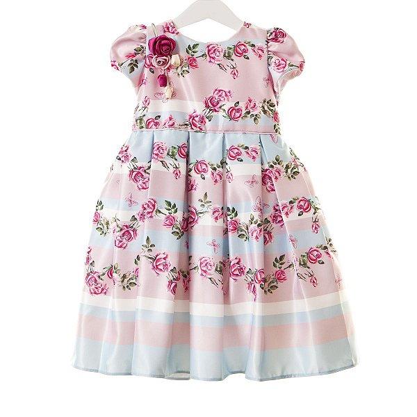 Vestido Floral rosa/azul