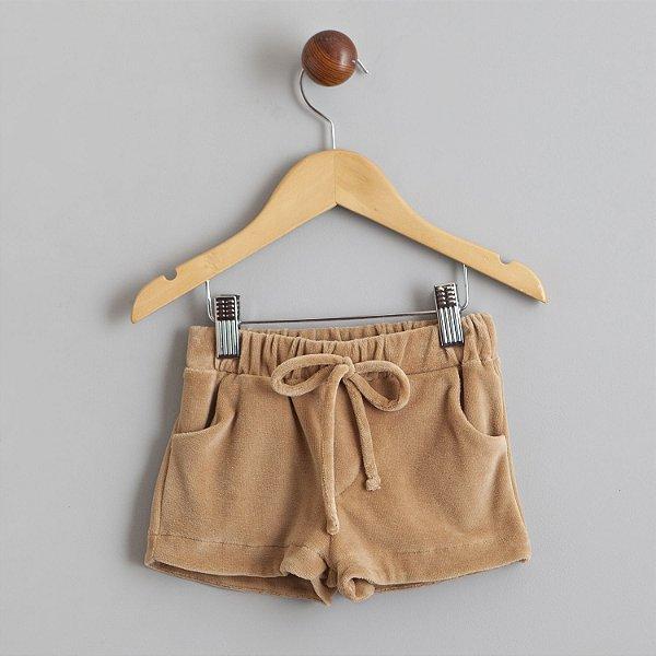Shorts de Plush marrom raposa