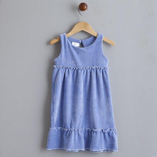 Vestido Veludo azul bebe