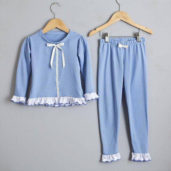 Pijama azul babados