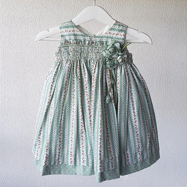 Vestido Bebe verde florzinhas