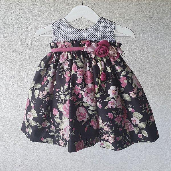 Vestido Bebe floral preto
