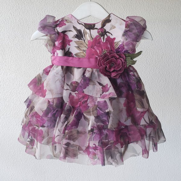 Vestido bebe lilas babados