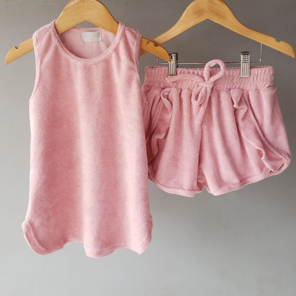 Conjunto atoalhado rosa