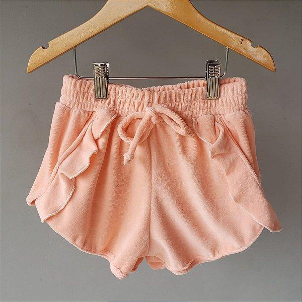 Shorts Plush babado coral
