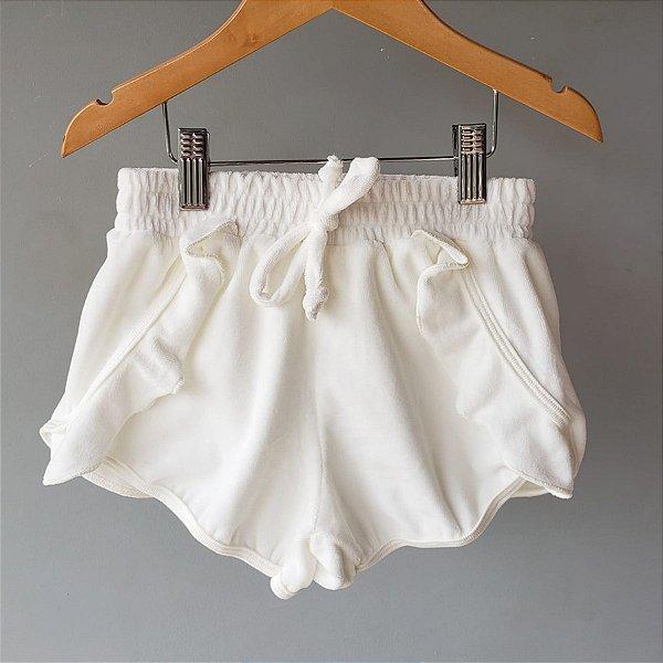 Shorts Plush babado branco