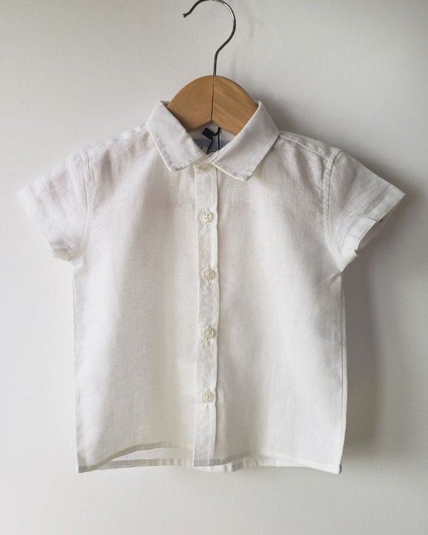 Camiseta menino manga curta linho