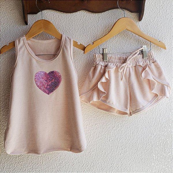 Conjunto Nuage rosa coração
