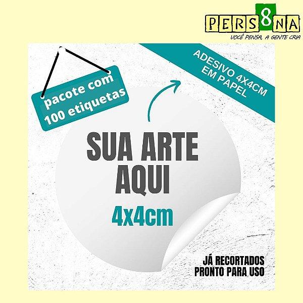 100 Etiquetas Adesivas 4cm Redonda / Personalizada/ Com sua logo/arte