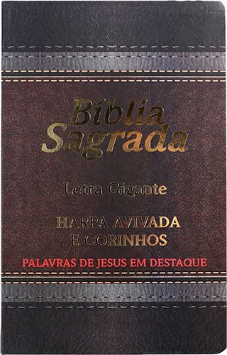Bíblia Letra Gigante Laminada Harpa Avivada e Corinhos Marrom