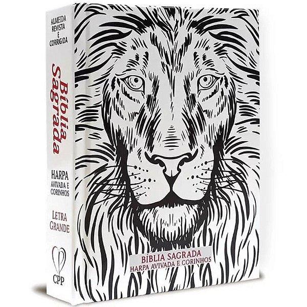 Bíblia Letra Grande Capa Dura Leão Harpa Avivada e Corinhos Preta e Branca