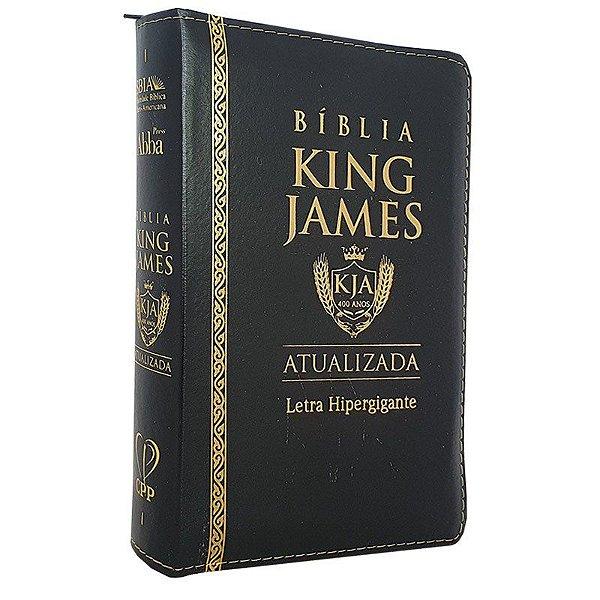 Bíblia Sagrada King James PU Zíper Atualizada Hipergigante Preta
