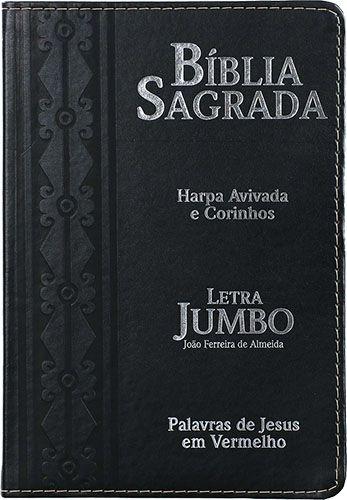 Bíblia Letra Jumbo Capa PU Luxo Harpa Avivada e Corinhos Preta