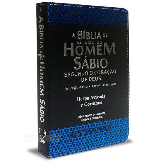 Bíblia de Estudo do Homem Sábio Harpa Avivada e Corinhos Azul