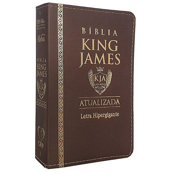 Bíblia King James Luxo Versão atualizada Letra Hipergigante Marrom