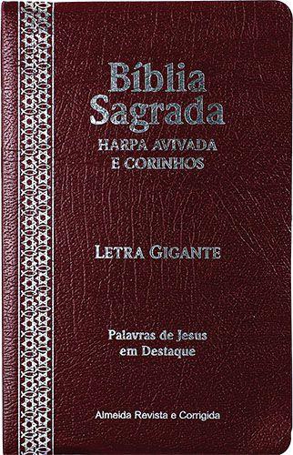 Bíblia Letra Gigante Covertex Harpa Avivada e Corinhos Bordô