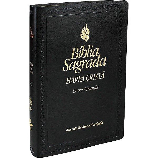 Bíblia Sagrada Com Harpa Cristã e Letra Grande Almeida Revista e Corrigida Preta