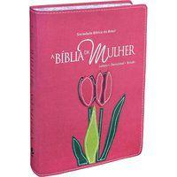 A Bíblia da Mulher Couro Rosa com bordas floridas Grande ARA