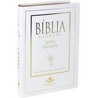 Bíblia Sagrada Letra Gigante Couro Branco borda dourada NTLH