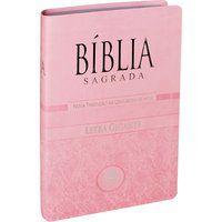 Bíblia Sagrada Letra Gigante com índice Capa couro Rosa NTLH
