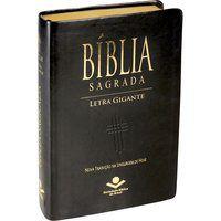 Bíblia Sagrada Letra Gigante com índice Capa couro Pret NTLH