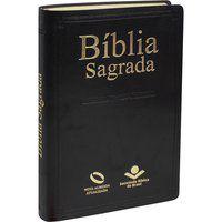 Bíblia Sagrada Nova Almeida Atualizada Capa couro preta NAA