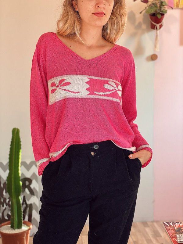 Suéter rosa vintage