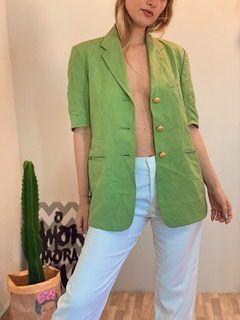 Colete em linho verde