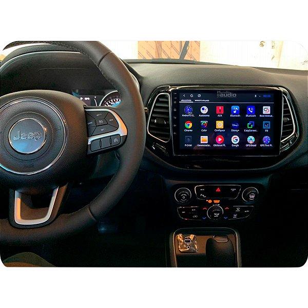 "Central Multimídia Kronos Tela 10"" Polegadas Jeep Compass 2017 a 2020 Gps Tv Android"