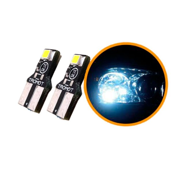 LED T10 24V LAMP SUPER BRANCA ESMAGADA TROMOT 6000K  (PAR) CAMINHÃO