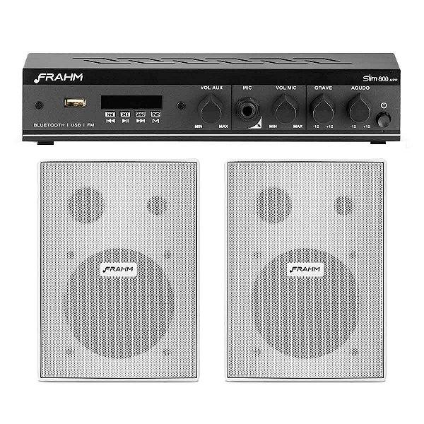 Kit Som Ambiente Receiver Frahm Slim 800APP+ 2 caixas Parede PS 200