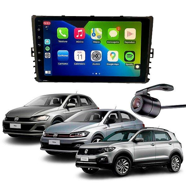 "Central Multimídia Mp8 9"" Polegadas Polo Virtus T-Cross CarPlay 2018 A 2021"