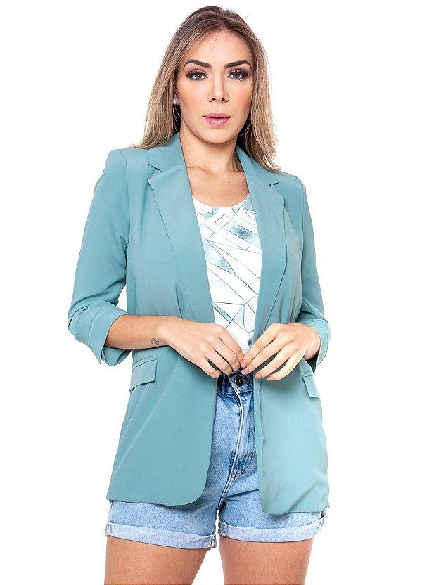 Blazer Alfaiataria Feminino Alongado Azul