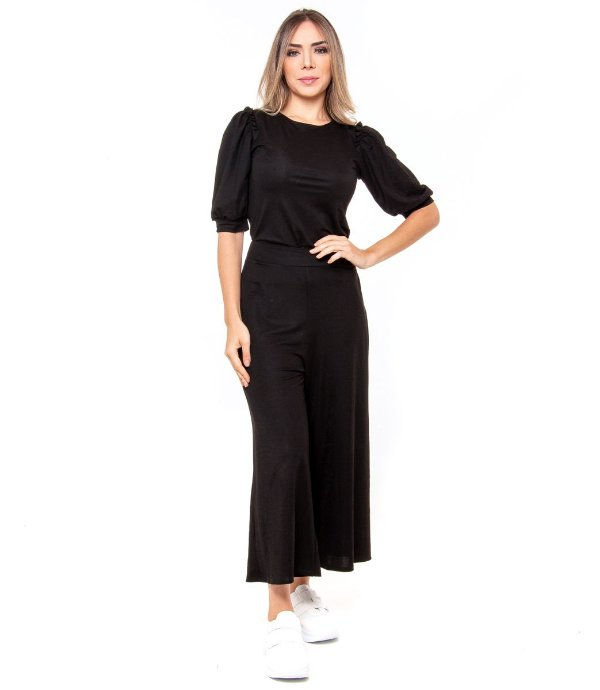 Conjunto Calça e Blusa Feminino Preto
