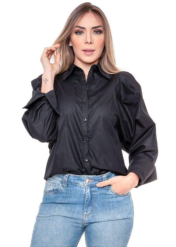 Camisa com Manga Bufante Preto