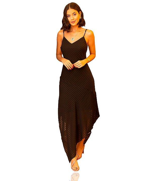 Vestido Longo Listrado Preto