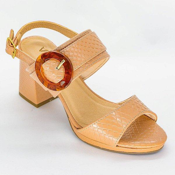 Sandalia de Salto Grosso Quadrado Nude