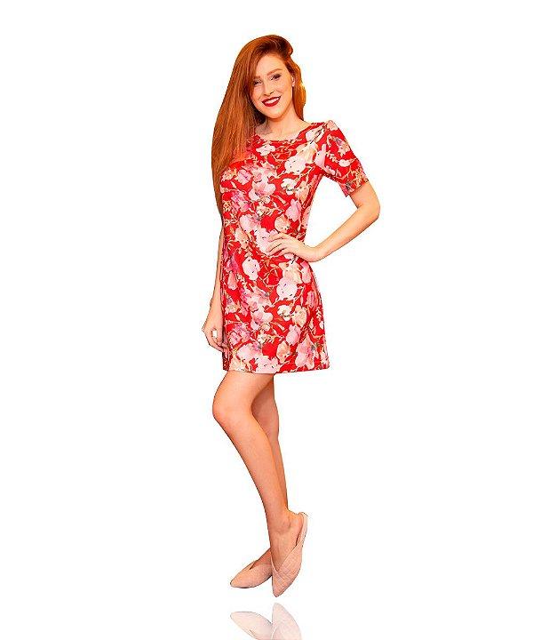 Vestido Estampado Curto Soltinho Vermelho