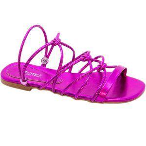 Sandalia Rasteira Metalizada Pink