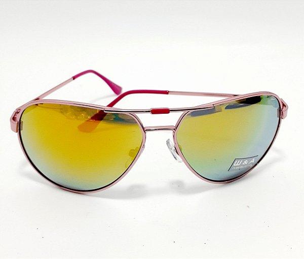 Óculos De Sol Modelo Aviador Com Armação Rosa