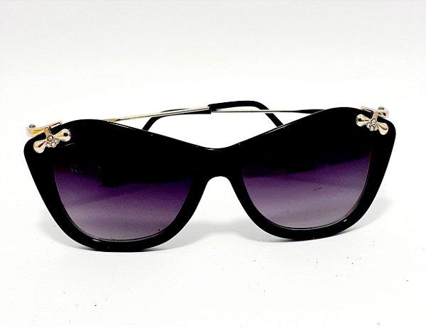 Óculos De Sol Adulto Com Armação Em Acetato Preto Com Detalhes
