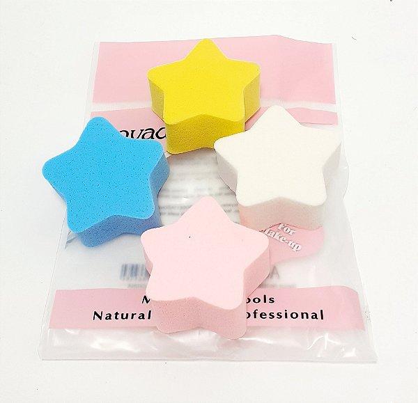 Embalagem Com 4 Esponjas Para Maquiagem - Estrela Colorido